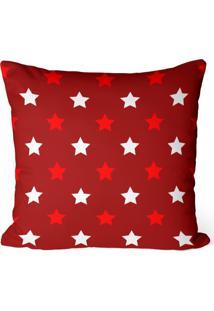 Capa De Almofada Love Decor Avulsa Decorativa Estrelas Natalinas Vermelhas