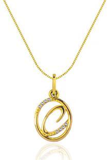 Pingente Letra C Ouro Amarelo E Diamantes 15 Mm