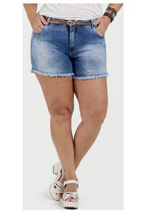 Short Feminino Jeans Barra Desfiada Plus Size Razon