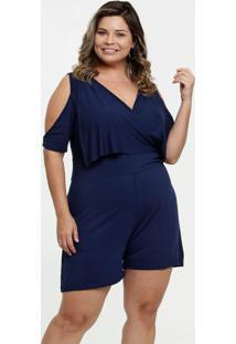 Macaquinho Feminino Transpassado Open Shoulder Plus Size