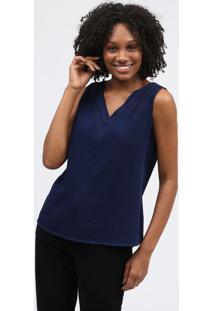 Blusa Com Bordado - Azul Marinhoscalon