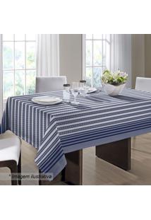 Toalha De Mesa Royal- Azul Marinho & Branca- 140X140Santista