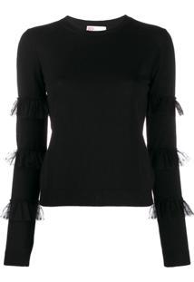 Redvalentino Blusa De Tricô Com Tule - Preto
