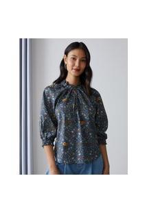 Amaro Feminino Blusa Estampada Com Decote De Amarrar E Mangas Bufantes, Bloom Patch