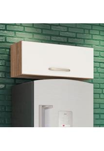 Armário Aéreo Cozinha 80 Cm Loá 1 Porta Basculante Carvalho Rústico/Off White Cetim - Nicioli