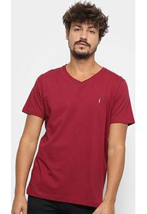 Camiseta Coca-Cola Estampada Gola V Masculina - Masculino-Bordô