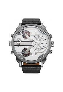 Relógio Masculino Oulm Hp3548 Analógico - Branco E Preto