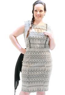 Vestido Malha Jacquard Plus Size Preto