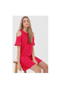 Vestido Malwee Curto Recortes Rosa