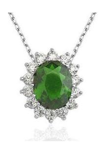 Colar Le Diamond Zircônia Esmeralda - Feminino-Verde