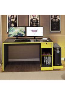 Mesa Para Computador Desk Gamer Drx 3000 Siena Móveis Preto/Amarelo