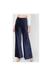 Calça Oh, Boy! Pantalona Canelada Veludo Azul-Marinho