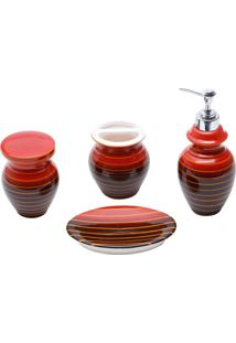 Jogo Para Banheiro 4 Peças Cerâmica Vermelho E Preto Prestige
