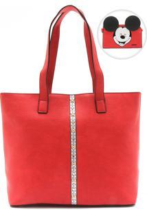Bolsa Mickey Mouse Pespontos Vermelha