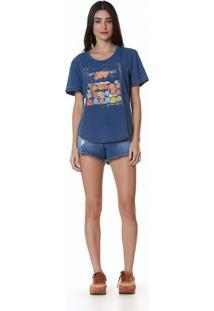 T-Shirt Zinco Decote Redondo Com Silk Azul