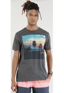 Camiseta Masculina Por Do Sol Manga Curta Gola Careca Cinza Mescla Escuro