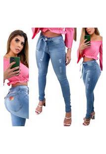 Calça Jeans Skinny Com Cordão Azul