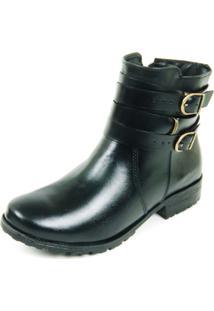 Bota Dhatz Ankle Boot Com Duas Fivela Não Possui Cadarço Preto
