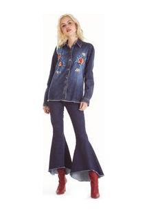Camisa Jeans Manga Longa Com Bordado Jeans