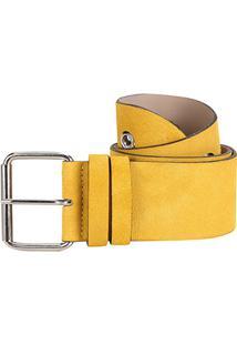 Cinto Couro Shoestock Ilhós Feminino - Feminino-Amarelo