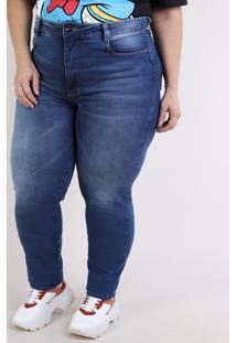 Calça Jeans Feminina Sawary Plus Size Super Skinny Cintura Alta Compressora Azul Escruro