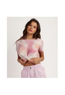 Blusa Feminina Cropped Canelada Estampada Tie Dye Com Nó Manga Curta Decote Redondo Multicor