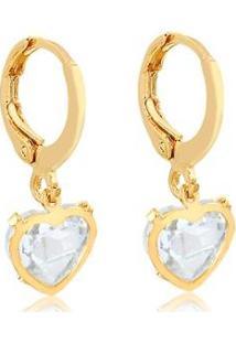 Brinco Argola Fechada Coração Cristal Folheado Ouro 18K - Feminino-Dourado