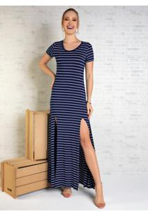 Vestido Longo Listrado Azul Com Fendas Frontais