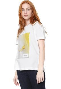 Camiseta Calvin Klein Flor Personalizada Branca