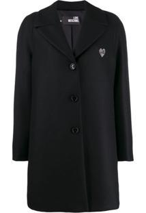 Love Moschino Classic Single-Breasted Coat - Preto
