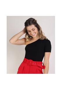 Blusa Feminina One Shoulder Um Ombro Só Preta