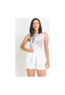 Body Pks Regata Estampado Floral Lilás