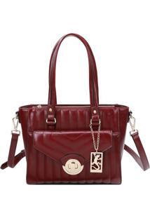 Bolsa Com Aviamentos E Bag Charm- Bordã´ & Dourada- 2Fellipe Krein