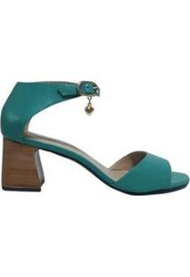 Sandália Média Sapatos E Botas Couro Salto Bloco Feminino - Feminino-Azul Turquesa