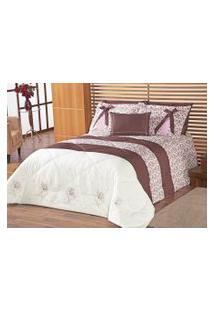 Edredom Queen Jasmin Floral Rose Com Bordado Lindo E Estampa Flores Com 5 Peças - Porta Travesseiro Com Laço - Aquarela