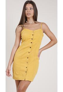 Vestido De Sarja Feminino Curto Com Botões Alça Fina Mostarda