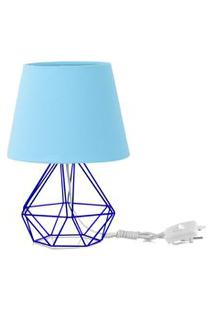 Abajur Diamante Dome Azul Bebe Com Aramado Azul