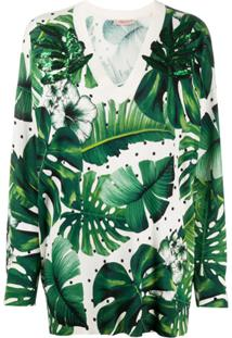 Twin-Set Blusa De Tricô Estampa Tropical - Verde