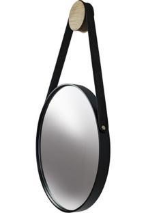 Espelho Button Moldura Cor Preta Com Alca Preta - 48651 - Sun House
