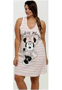 Camisola Feminina Listrada Minnie Plus Size Disney
