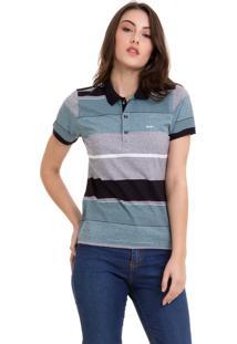 Camisa Polo Listrada Azul