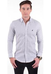 Camisa Social Masculina Slim Xadrez - Masculino-Branco