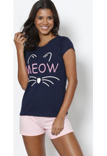 Short Doll ''Meow'' - Azul Marinho & Rosazulai
