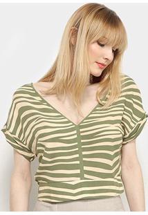 Blusa Cropped Il Shin Gola V Listras Feminina - Feminino-Verde