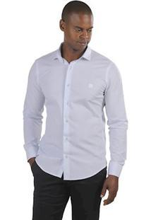 Camisa Masculina Manga Longa Slim Fit Sandro Clothing Palenque Branco Listrado