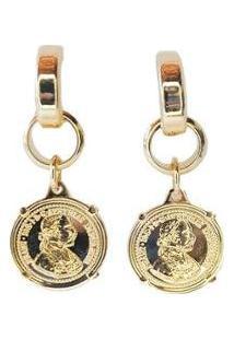 Brinco Kaka Corrêa Argolinha Com Medalha - Feminino-Dourado