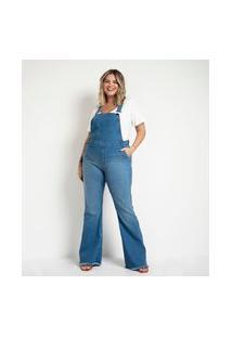 Jardineira Flare Jeans Curve & Plus Size