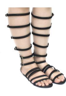 Sandália Zariff Shoes Gladiadora Camurça Preto
