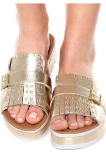 Tamanco Flatform Fiveblu Metalizado Franjas Dourado