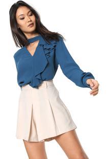Blusa Colcci Choker Azul